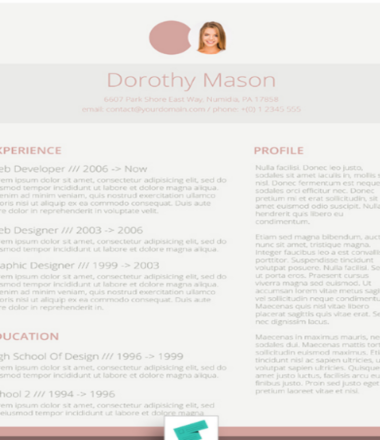 Free CV Design For The Ladies | Simple In Pink