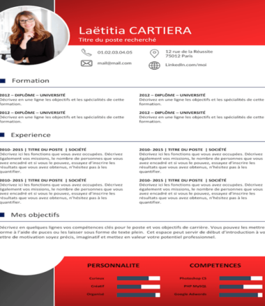 Example CV of  Red color