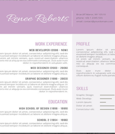 Free CV Of The Week | Lilac Beauty