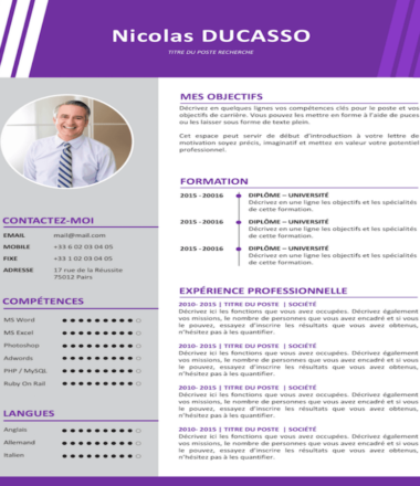 Example of experienced Commercial CV